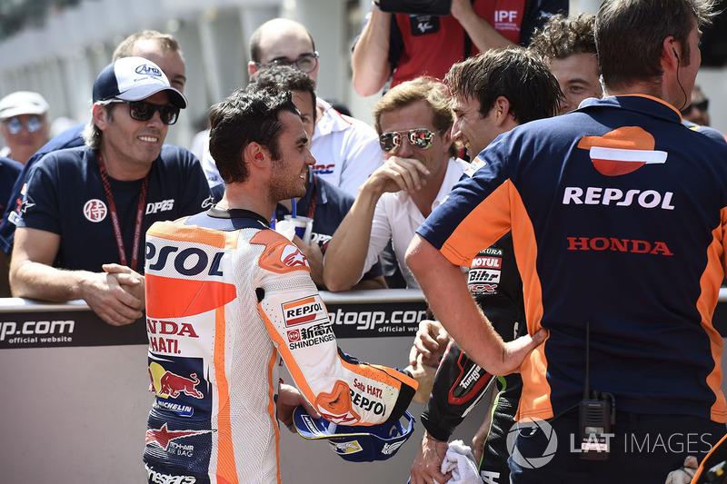 Pole sitter Dani Pedrosa, Repsol Honda Team, second place Johann Zarco, Monster Yamaha Tech 3