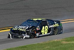 Jimmie Johnson, Hendrick Motorsports Chevrolet Camaro shows damage after a crash