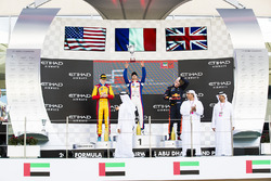 Podium: race winner Dorian Boccolacci, Trident second place Ryan Tveter, Trident, third place Dan Ticktum, DAMS