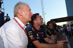 Dr Helmut Marko, Red Bull Motorsport Consultant and Christian Horner, Red Bull Racing Team Principal celebrates in parc ferme