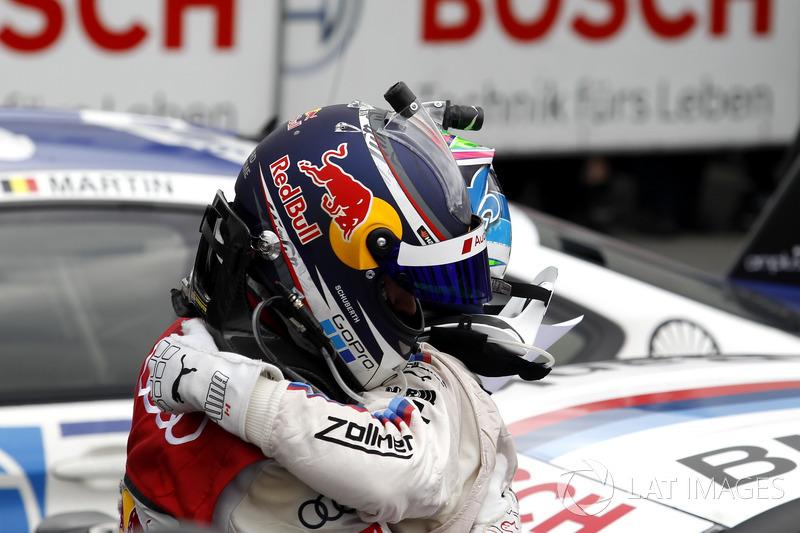 Mattias Ekström, Audi Sport Team Abt Sportsline, Audi A5 DTM and Bruno Spengler, BMW Team RBM, BMW M4 DTM in parc ferme