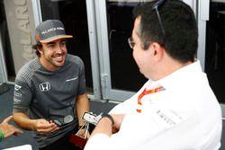 Fernando Alonso, McLaren, talks to Eric Boullier, Racing Director, McLaren, after collecting an awar
