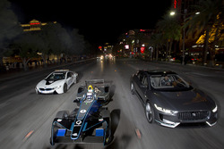 Sam Bird, DS Virgin Racing, leads Mitch Evans, Jaguar Racing in a I-Pace SUV concept car. Antonio Felix da Costa, Amlin Andretti Formula E Team, drives a BMW i8