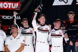 Podium: second place #911 Manthey Racing Porsche 911 GT3 R: Earl Bamber, Nick Tandy, Patrick Pilet