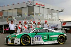 Race winner #29 Audi Sport Team Land-Motorsport, Audi R8 LMS: Christopher Mies, Connor De Phillippi, Markus Winkelhock, Kelvin van der Linde with Wolfgang Land, team principal Audi Sport Team Land Motorsport and Chris Reinke, Audi Sport