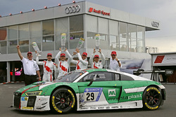Race winner #29 Audi Sport Team Land-Motorsport, Audi R8 LMS: Christopher Mies, Connor De Phillippi, Markus Winkelhock, Kelvin van der Linde with Wolfgang Land, team principal Audi Sport Team Land Motorsport and Chris Reinke, Audi Sport