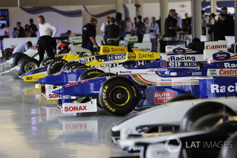A line-up of Williams F1 cars