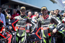Polesitter Jonathan Rea, Kawasaki Racing, second place Tom Sykes, Kawasaki