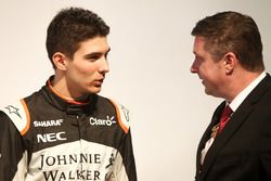 Esteban Ocon and David Croft at the Sahara Force India launch