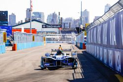 Chris Hemsworth drives the Formula E car