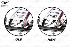Ancien et nouveau museau de la Williams FW40