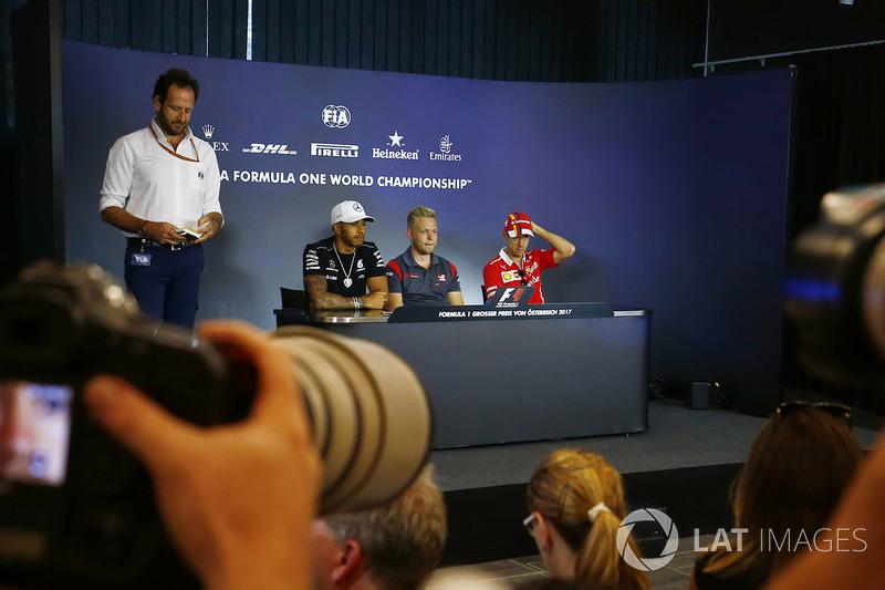 Pressekonferenz mit Lewis Hamilton, Mercedes AMG F1, Kevin Magnussen, Haas F1 Team, Sebastian Vettel, Ferrari