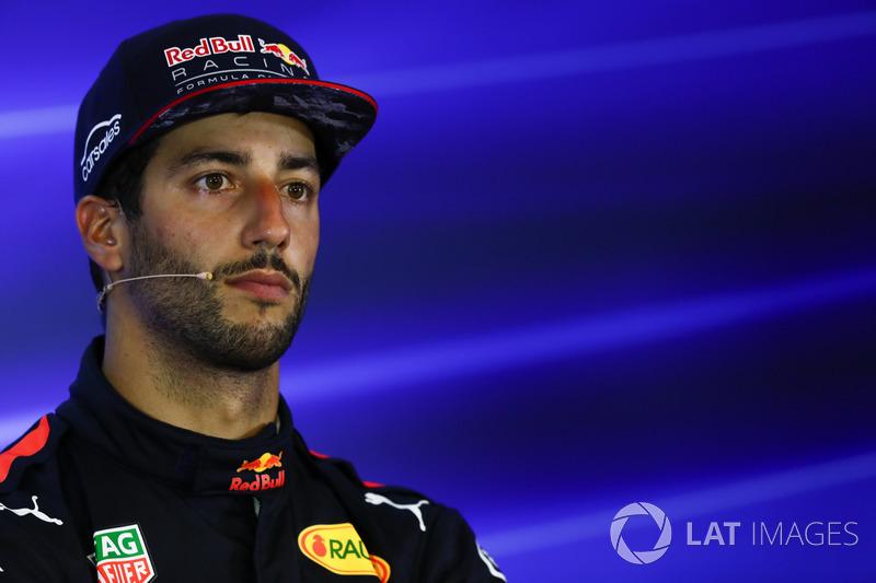 Il terzo classificato Daniel Ricciardo, Red Bull Racing, nella conferenza stampa