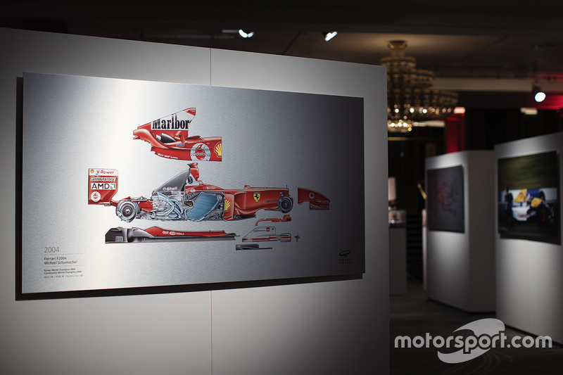 A Giorgio Piola technical drawing of Michael Schumacher's 2004 Ferrari