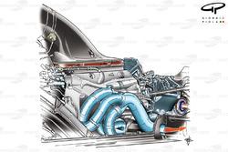 Нижний выхлоп Williams FW32 направляет отработанные газы к диффузору