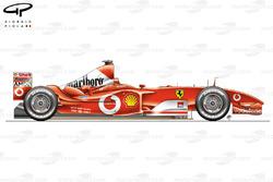 Vue latérale de la Ferrari F2003-GA