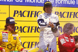 Podium: race winner Nelson Piquet, Brabham BMW, second place Keke Rosberg, Williams Honda, third place Alain Prost, McLaren TAG Porsche