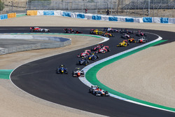 Alex Palou, Campos Racing, leads Jordan King, MP Motorsport and the rest of the field at the start o