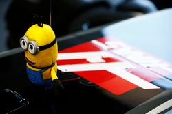 A mascot on the cockpit of the Kevin Magnussen Haas F1 Team VF-17