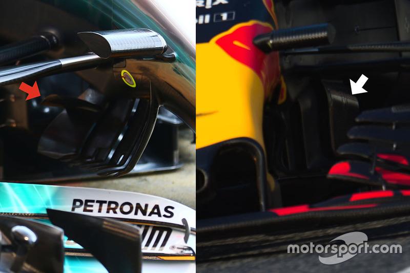 Red Bull Racing RB13 ve Mercedes AMG F1 W08 detay karşılaştırması