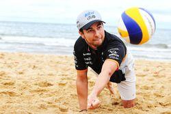 Sergio Perez, Sahara Force India F1 plays volleyball on Brighton Beach
