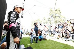 Sergio Perez, Force India, poses for photographers