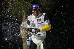 GTLM podium: winner Mike Rockenfeller, Corvette Racing celebrates with champagne