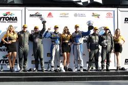 Podium: 1. #12 Bodymotion Racing. Porsche Cayman GT4: Cameron Cassels, Trent Hindman; 2. #33 CJ Wils