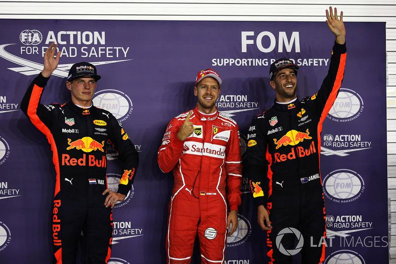 Polesitter Sebastian Vettel, Ferrari; 2. Max Verstappen, Red Bull Racing; 3. Daniel Ricciardo, Red Bull Racing