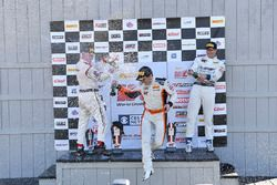 Podium: race winner Alvaro Parente, K-Pax Racing, second place Michael Cooper, Cadillac Racing, third place Johnny O'Connell, Cadillac Racing