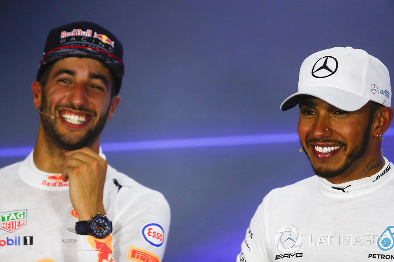 Press conference: race winner Lewis Hamilton, Mercedes AMG F1, second place Daniel Ricciardo, Red Bull Racing