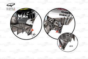 Williams FW40, Ferrari SF70H and Ferrari SF15-T diffuser upstands