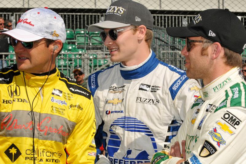 Townsend Bell, Andretti Autosport Honda, Josef Newgarden, Ed Carpenter Racing Chevrolet, und Ed Carp