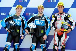 Polesitter Romano Fenati, Sky Racing Team VR46, second place Andrea Migno, Sky Racing Team VR46, third place Khairul Idham Pawi