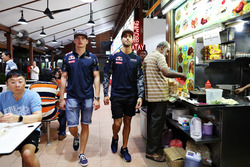 Max Verstappen, Red Bull Racing and Daniel Ricciardo, Red Bull Racing at Newton Food Centre