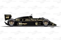 Lotus 98T conducido por Ayrton Senna