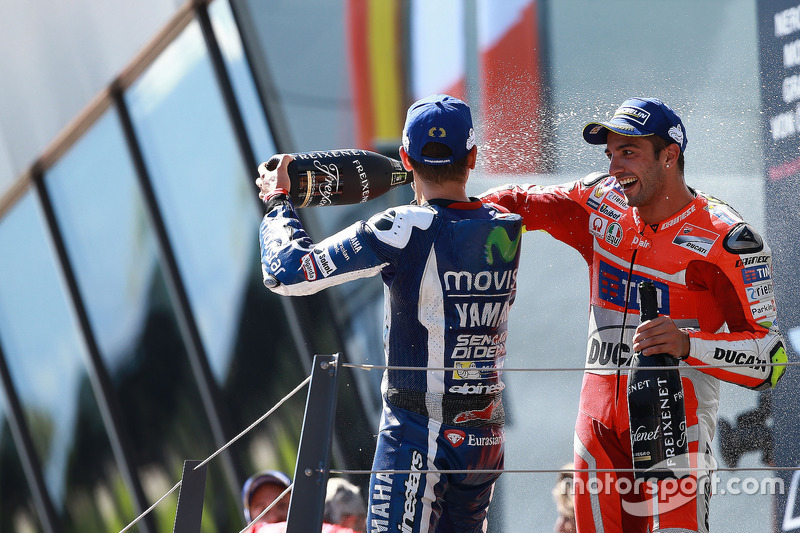 Race winner Andrea Iannone, Ducati Team, third place Jorge Lorenzo, Yamaha Factory Racing