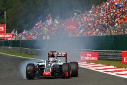 Ромен Грожан, Haas F1 Team VF-16 блокирует колеса на торможении
