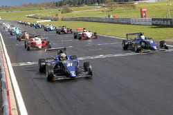 Start action: Lando Norris, Carlin leads