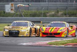#5 Phoenix Racing Asia Audi R8 LMS GT3: Marchy Lee, Shaun Thong and #37 BBT Ferrari 488 GT3: Davide Rizzo, Anthony Liu