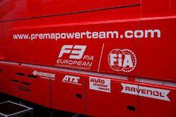 Logos on the truck of Prema Powerteam