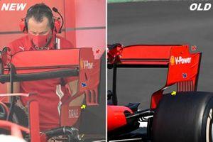 Ferrari SF1000 rear wing comparison