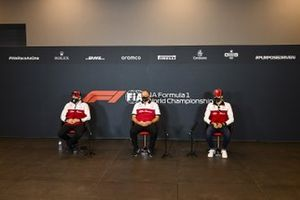 Kimi Raikkonen, Alfa Romeo, Frederic Vasseur, Team Principal, Alfa Romeo Racing, and Antonio Giovinazzi, Alfa Romeo, in a Press Conference