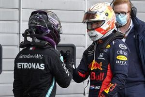 Max Verstappen, Red Bull Racing, 2nd position, congratulates Lewis Hamilton, Mercedes-AMG F1, 1st position, in Parc Ferme