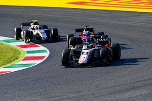 Christian Lundgaard, ART Grand Prix, leads Roy Nissany, Trident, and Luca Ghiotto, Hitech Grand Prix