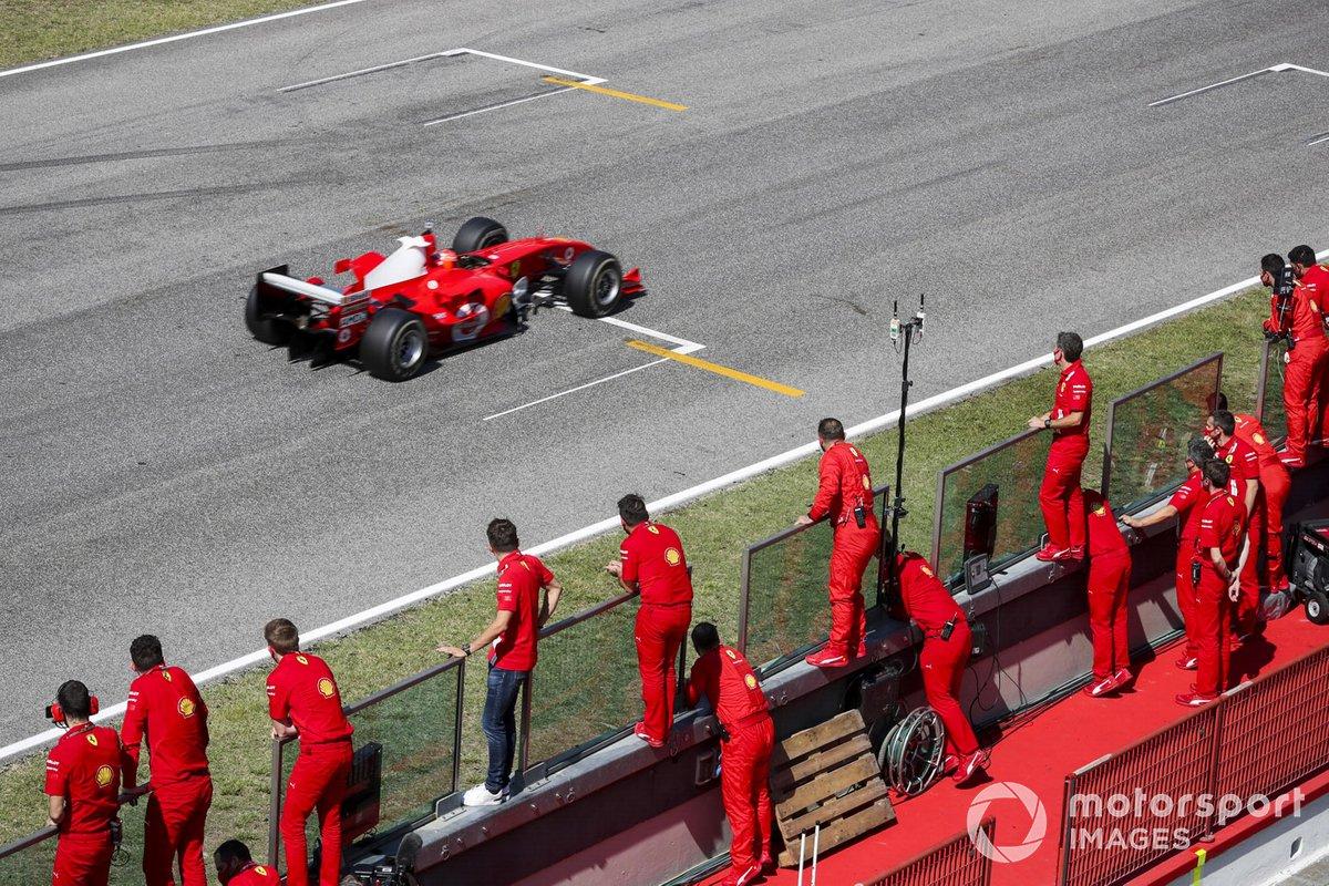 Mick Schumacher drives his fathers championship winning Ferrari F2004