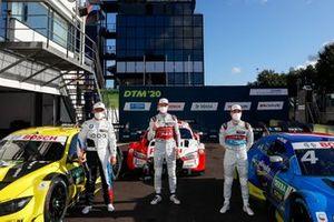 Top 3 after Qualifying, Pole sitter René Rast, Audi Sport Team Rosberg, Timo Glock, BMW Team RMG, Robin Frijns, Audi Sport Team Abt Sportsline