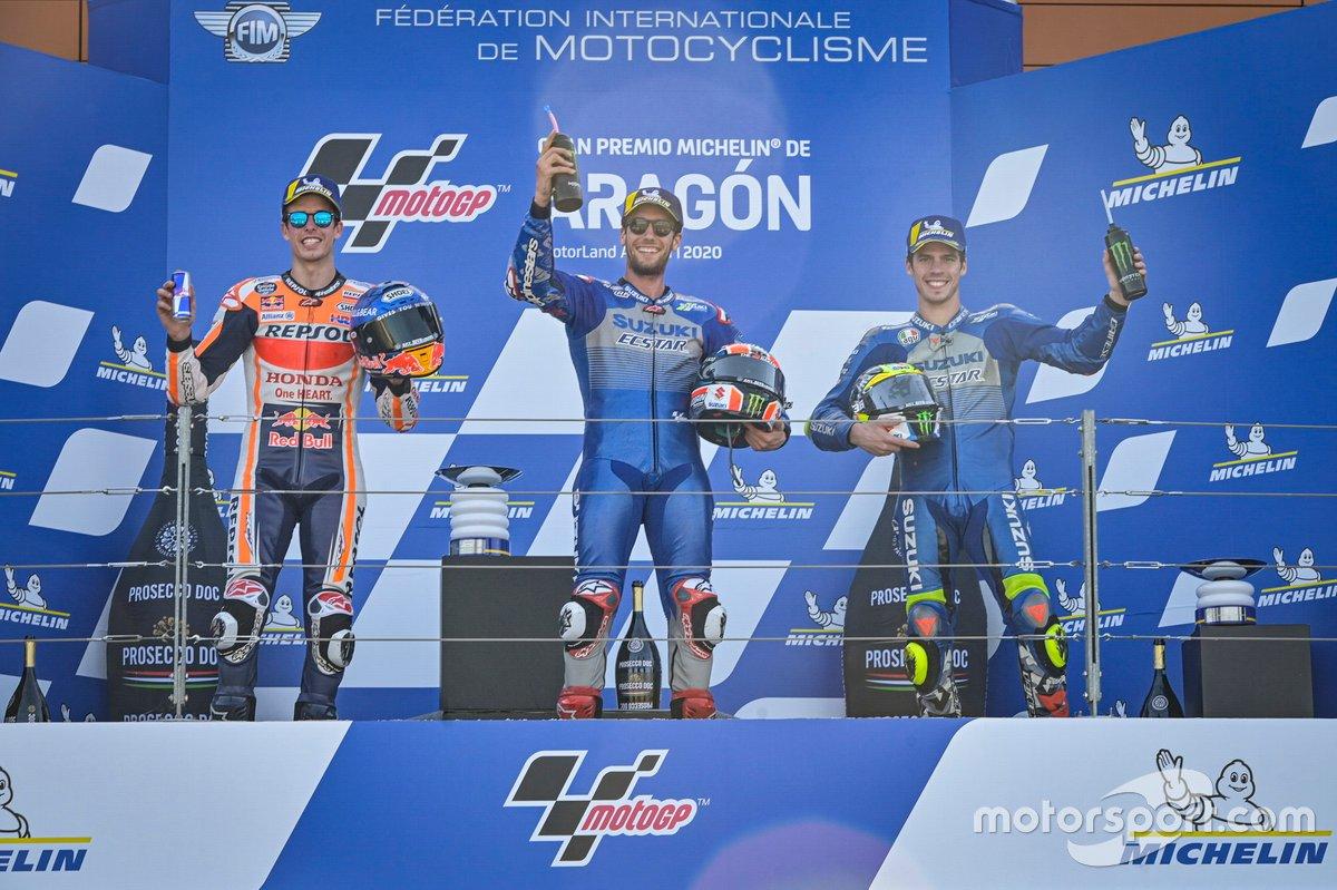 Podio: el ganador de la carrera Alex Rins, Team Suzuki MotoGP, segundo clasificado Alex Marquez, Repsol Honda Team, tercer clasificado Joan Mir, Team Suzuki MotoGP