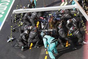 Valtteri Bottas, Mercedes F1 W11, makes a stop