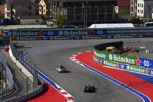 The Safety Car Lewis Hamilton, Mercedes F1 W11, and Valtteri Bottas, Mercedes F1 W11
